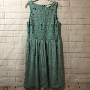 Ann Taylor LOFT Blue Green Lace Overlay Dress